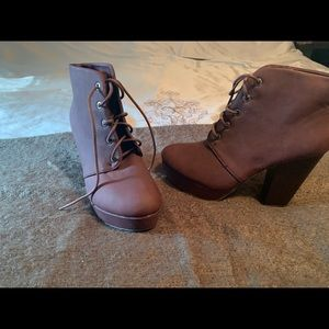 Charlotte Russe lace up heeled bootie